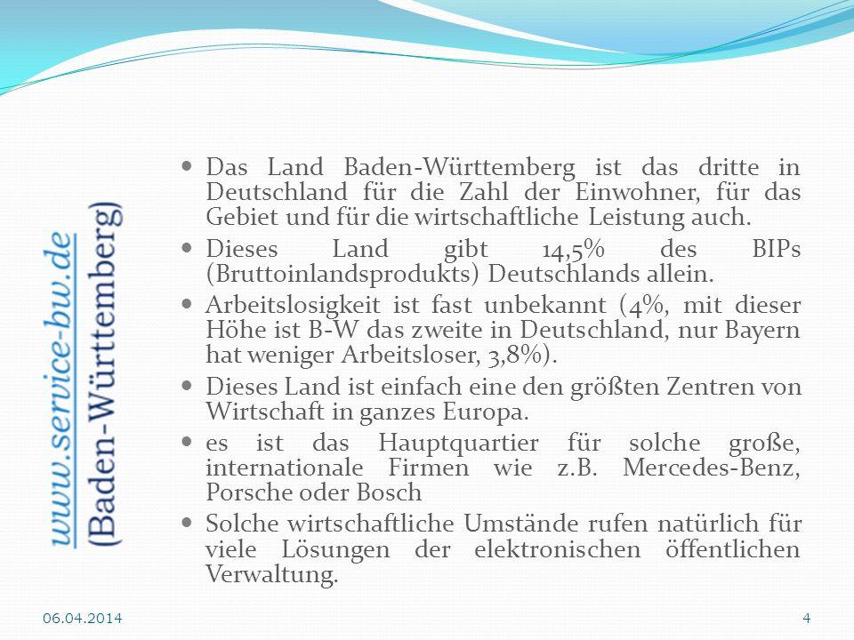 Das Land Baden-Württemberg ist das dritte in Deutschland für die Zahl der Einwohner, für das Gebiet und für die wirtschaftliche Leistung auch. Dieses