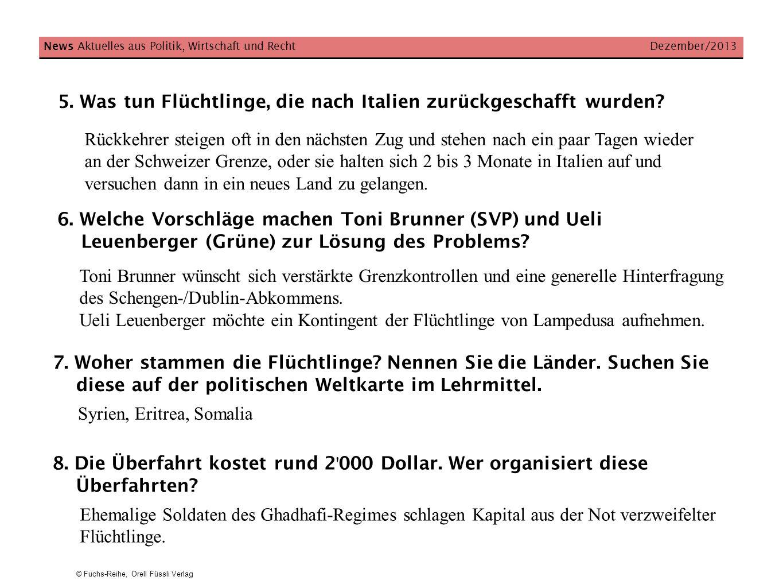 © Fuchs-Reihe, Orell Füssli Verlag 5. Was tun Flüchtlinge, die nach Italien zurückgeschafft wurden? News Aktuelles aus Politik, Wirtschaft und Recht D