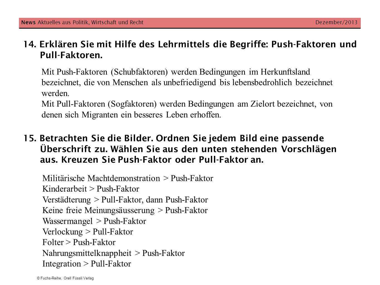 © Fuchs-Reihe, Orell Füssli Verlag News Aktuelles aus Politik, Wirtschaft und Recht Dezember/2013 15. Betrachten Sie die Bilder. Ordnen Sie jedem Bild