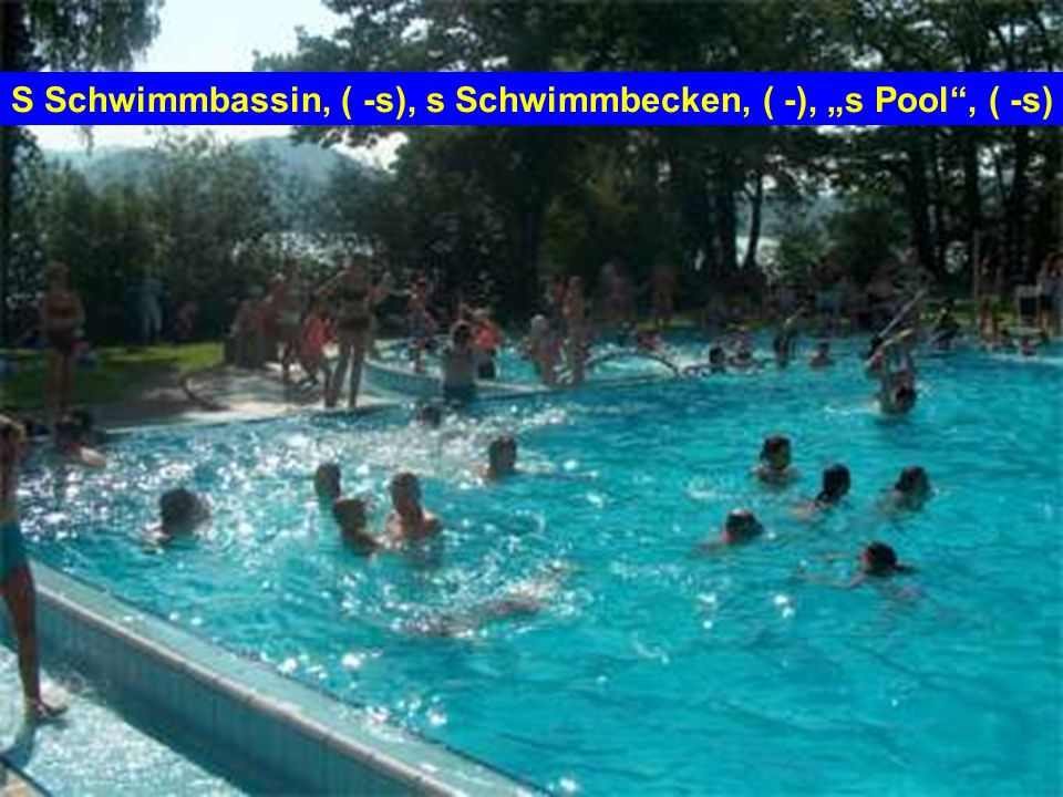 S Schwimmbassin, ( -s), s Schwimmbecken, ( -), s Pool, ( -s)
