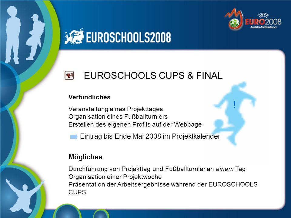 EUROSCHOOLS CUPS & FINAL Verbindliches Veranstaltung eines Projekttages Organisation eines Fußballturniers Erstellen des eigenen Profils auf der Webpage Eintrag bis Ende Mai 2008 im Projektkalender Mögliches Durchführung von Projekttag und Fußballturnier an einem Tag Organisation einer Projektwoche Präsentation der Arbeitsergebnisse während der EUROSCHOOLS CUPS !