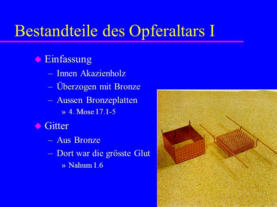 Bestandteile des Opferaltars I Einfassung –Innen Akazienholz –Überzogen mit Bronze –Aussen Bronzeplatten »4. Mose 17.1-5 Gitter –Aus Bronze –Dort war