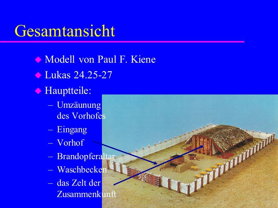 Gesamtansicht Modell von Paul F. Kiene Lukas 24.25-27 Hauptteile: –Umzäunung des Vorhofes –Eingang –Vorhof –Brandopferaltar –Waschbecken –das Zelt der