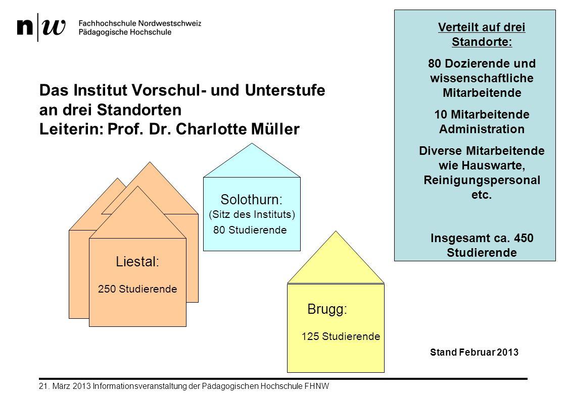 21. März 2013 Informationsveranstaltung der Pädagogischen Hochschule FHNW Das Institut Vorschul- und Unterstufe an drei Standorten Leiterin: Prof. Dr.