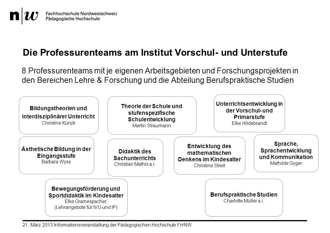 21. März 2013 Informationsveranstaltung der Pädagogischen Hochschule FHNW Die Professurenteams am Institut Vorschul- und Unterstufe 8 Professurenteams