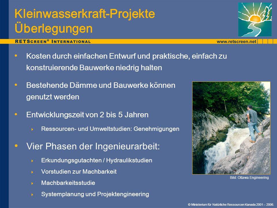 Kleinwasserkraft-Projekte Überlegungen Kosten durch einfachen Entwurf und praktische, einfach zu konstruierende Bauwerke niedrig halten Bestehende Däm