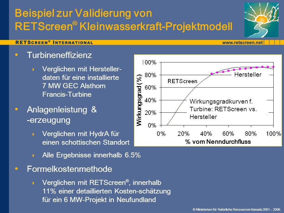 Beispiel zur Validierung von RETScreen ® Kleinwasserkraft-Projektmodell Turbineneffizienz Verglichen mit Hersteller- daten für eine installierte 7 MW