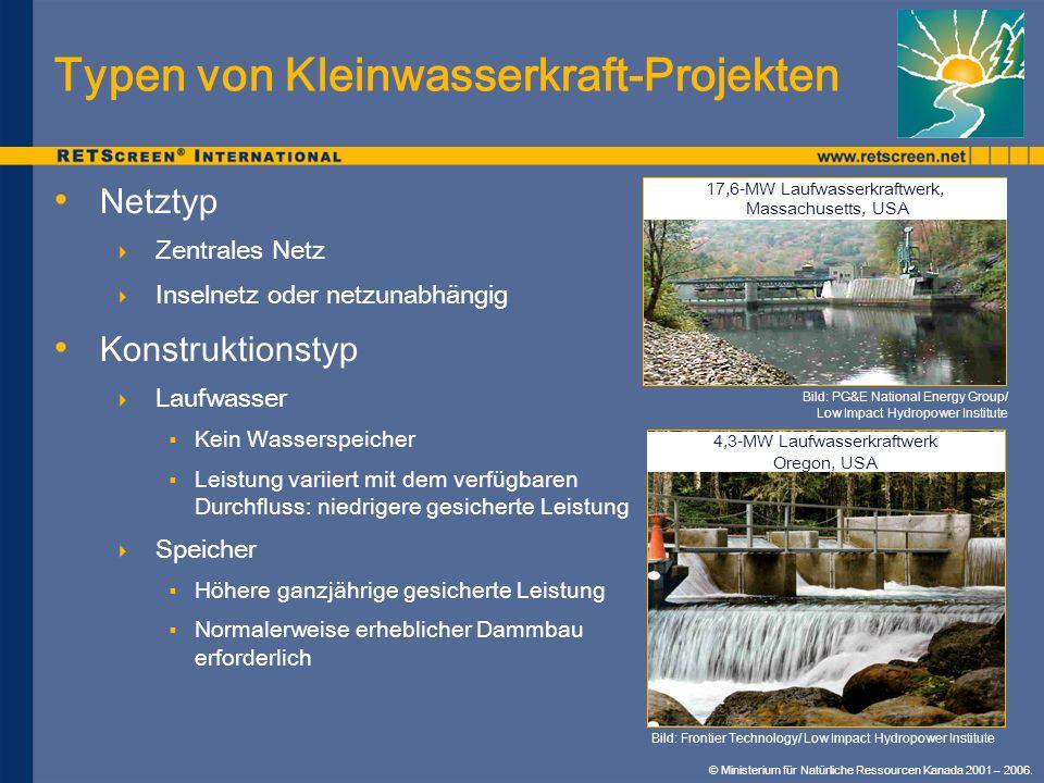 Typen von Kleinwasserkraft-Projekten Netztyp Zentrales Netz Inselnetz oder netzunabhängig Konstruktionstyp Laufwasser Kein Wasserspeicher Leistung var