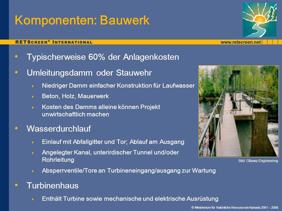 Komponenten: Bauwerk Typischerweise 60% der Anlagenkosten Umleitungsdamm oder Stauwehr Niedriger Damm einfacher Konstruktion für Laufwasser Beton, Hol