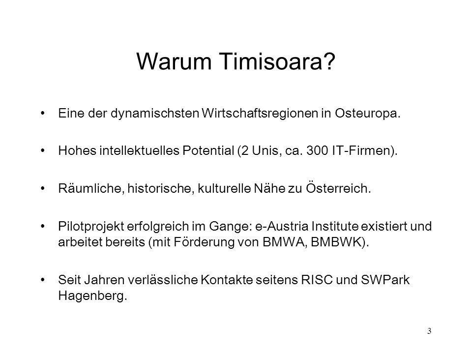 3 Warum Timisoara? Eine der dynamischsten Wirtschaftsregionen in Osteuropa. Hohes intellektuelles Potential (2 Unis, ca. 300 IT-Firmen). Räumliche, hi