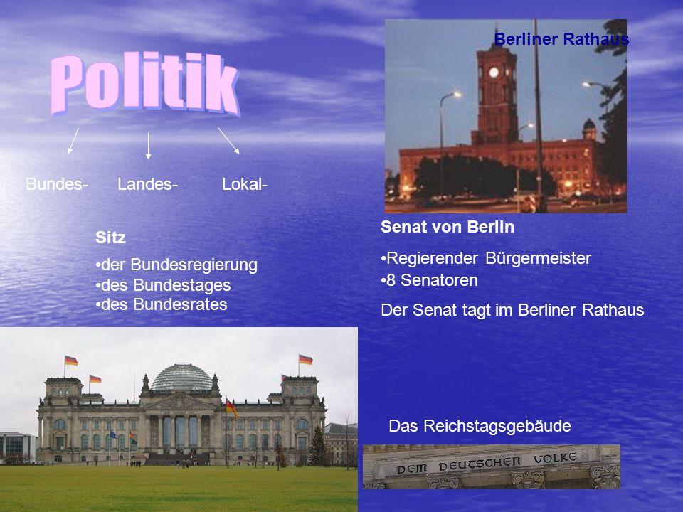 Das Reichstagsgebäude Bundes- Landes- Lokal- Sitz der Bundesregierung des Bundestages des Bundesrates Senat von Berlin Regierender Bürgermeister 8 Senatoren Der Senat tagt im Berliner Rathaus Berliner Rathaus