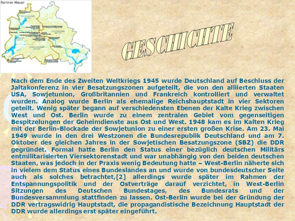Nach dem Ende des Zweiten Weltkriegs 1945 wurde Deutschland auf Beschluss der Jaltakonferenz in vier Besatzungszonen aufgeteilt, die von den alliierte