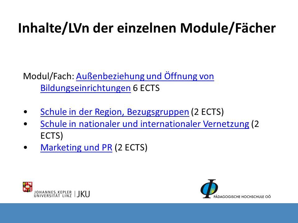Inhalte/LVn der einzelnen Module/Fächer Modul/Fach: Außenbeziehung und Öffnung von Bildungseinrichtungen 6 ECTS Außenbeziehung und Öffnung von Bildung