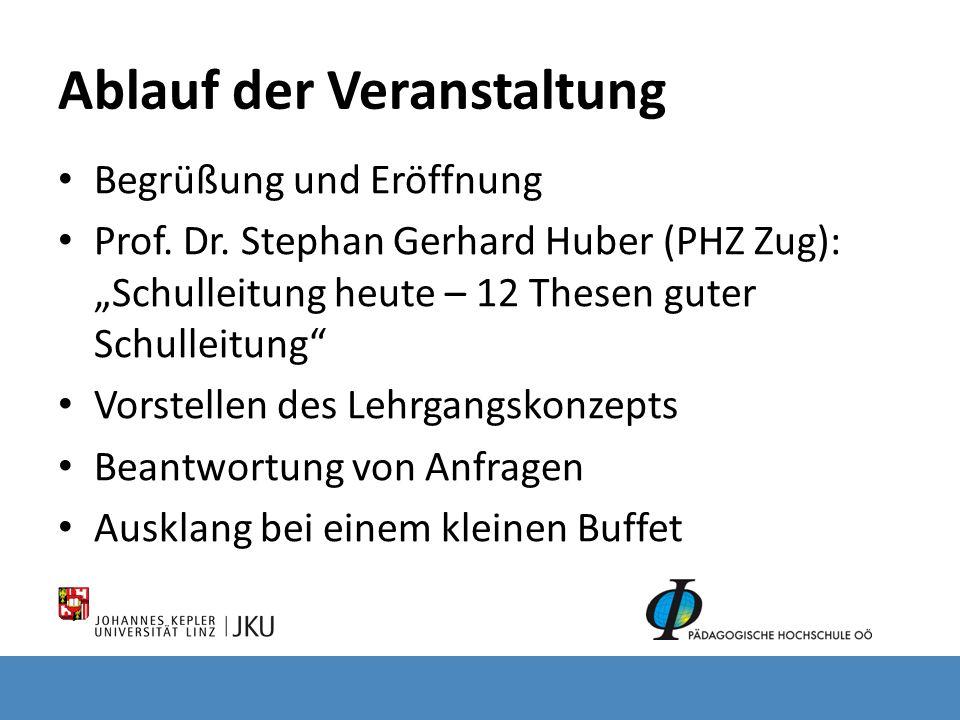Ablauf der Veranstaltung Begrüßung und Eröffnung Prof. Dr. Stephan Gerhard Huber (PHZ Zug): Schulleitung heute – 12 Thesen guter Schulleitung Vorstell
