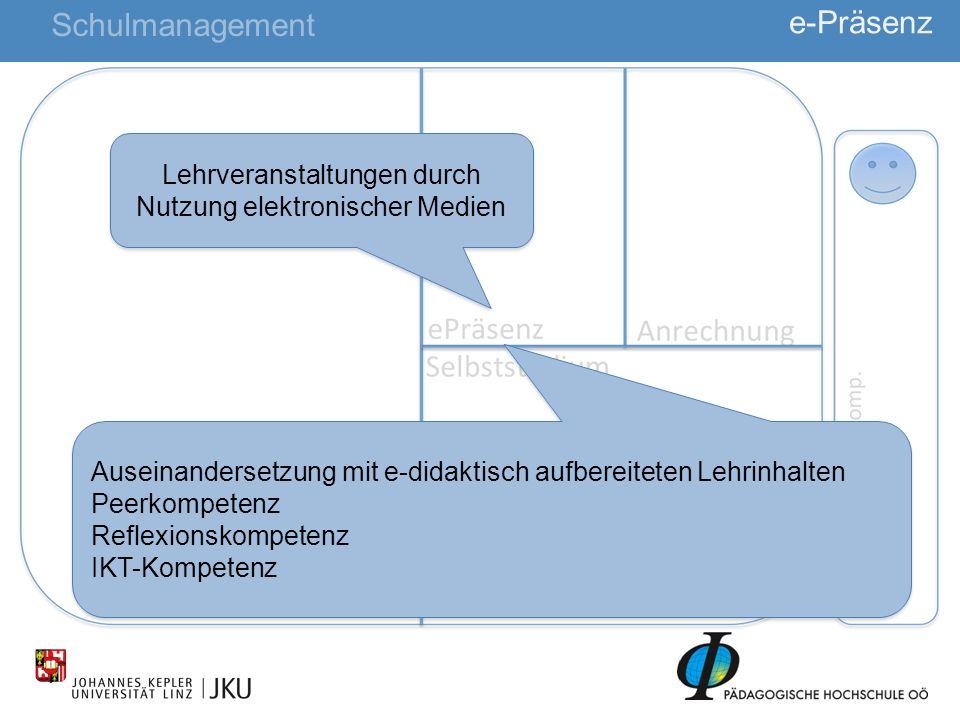 25 e-Präsenz Schulmanagement Lehrveranstaltungen durch Nutzung elektronischer Medien Auseinandersetzung mit e-didaktisch aufbereiteten Lehrinhalten Pe