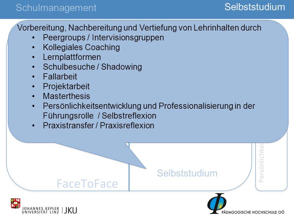 26 Selbststudium Schulmanagement Vorbereitung, Nachbereitung und Vertiefung von Lehrinhalten durch Peergroups / Intervisionsgruppen Kollegiales Coachi