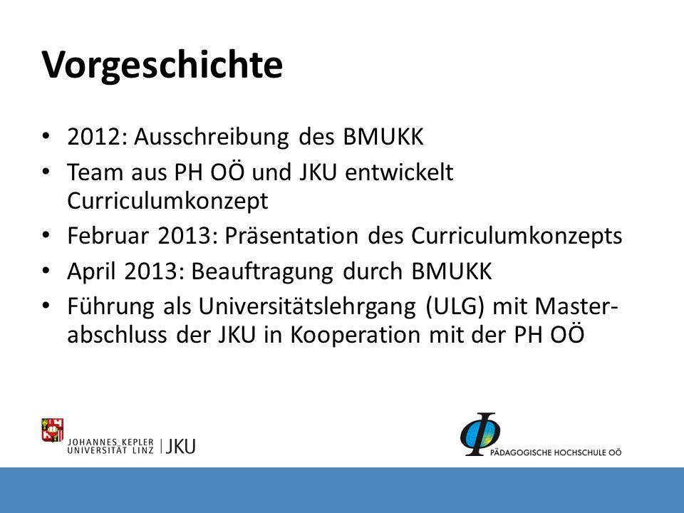Vorgeschichte 2012: Ausschreibung des BMUKK Team aus PH OÖ und JKU entwickelt Curriculumkonzept Februar 2013: Präsentation des Curriculumkonzepts Apri