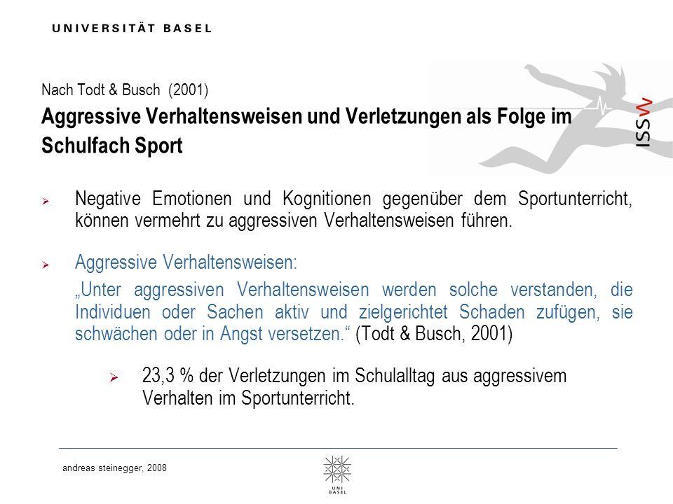 andreas steinegger, 2008 Nach Todt & Busch (2001) Aggressive Verhaltensweisen und Verletzungen als Folge im Schulfach Sport Negative Emotionen und Kog
