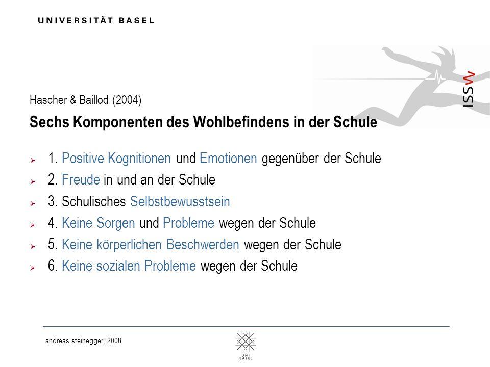 andreas steinegger, 2008 Hascher & Baillod (2004) Sechs Komponenten des Wohlbefindens in der Schule 1. Positive Kognitionen und Emotionen gegenüber de