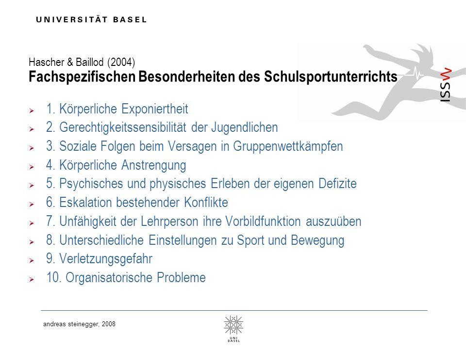 andreas steinegger, 2008 Hascher & Baillod (2004) Fachspezifischen Besonderheiten des Schulsportunterrichts 1. Körperliche Exponiertheit 2. Gerechtigk