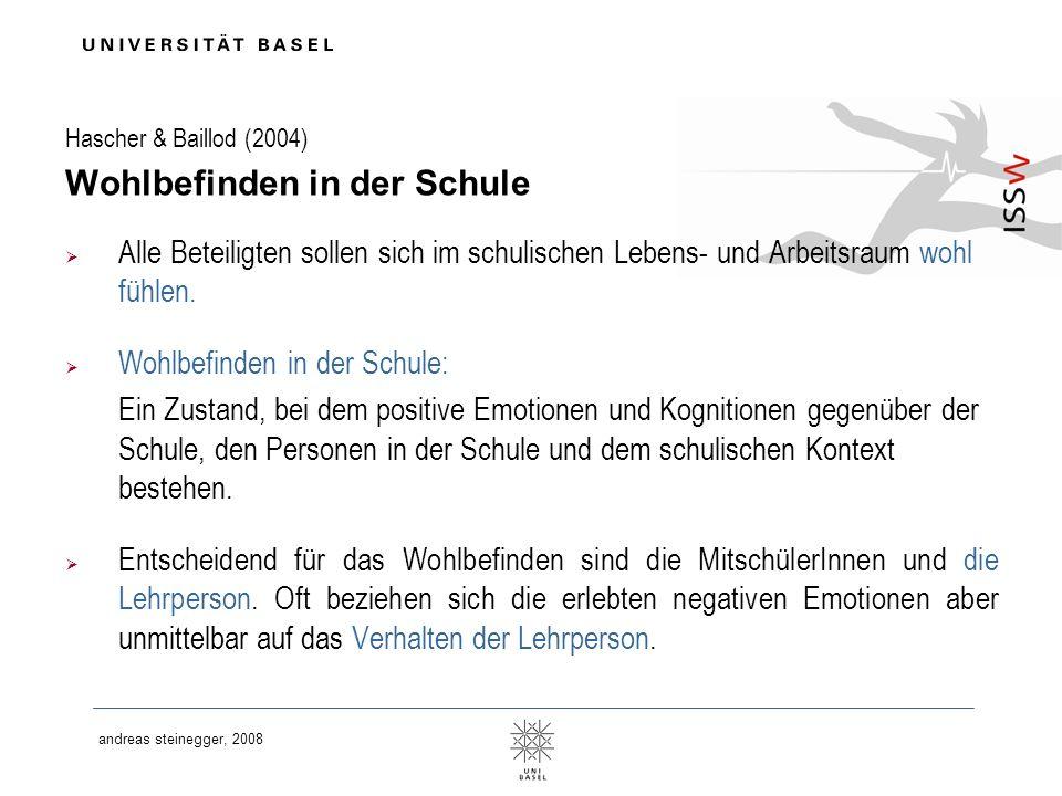 andreas steinegger, 2008 Nach Hascher & Baillod (2004) Sechs Komponenten des Wohlbefindens in der Schule 1.