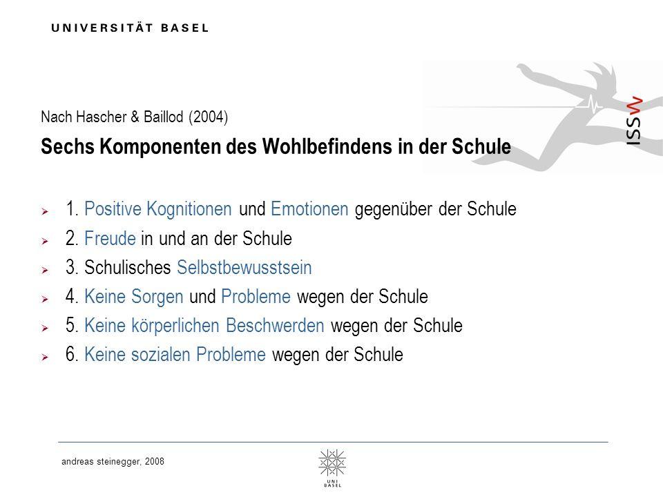 andreas steinegger, 2008 Nach Hascher & Baillod (2004) Sechs Komponenten des Wohlbefindens in der Schule 1. Positive Kognitionen und Emotionen gegenüb