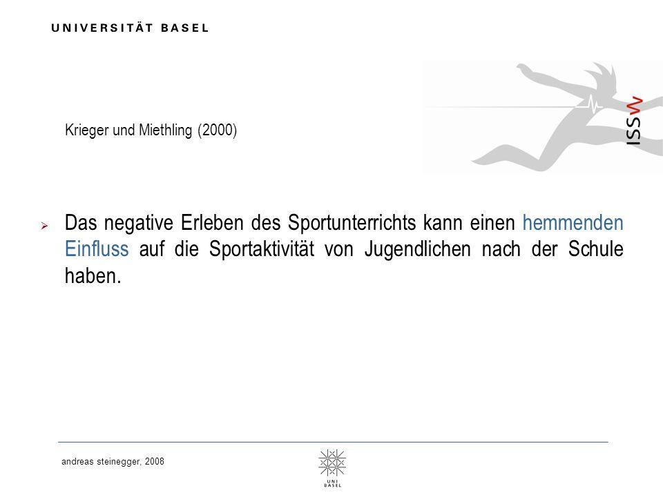 andreas steinegger, 2008 Krieger und Miethling (2000) Das negative Erleben des Sportunterrichts kann einen hemmenden Einfluss auf die Sportaktivität v