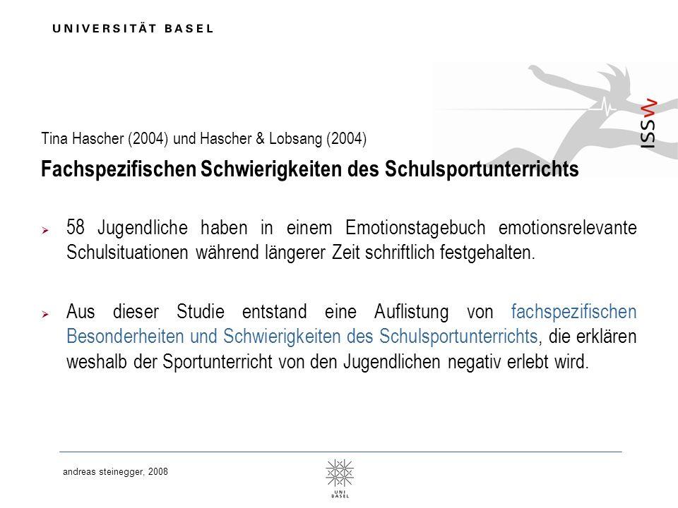 andreas steinegger, 2008 Tina Hascher (2004) und Hascher & Lobsang (2004) Fachspezifischen Schwierigkeiten des Schulsportunterrichts 58 Jugendliche ha