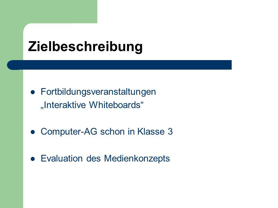 Zielbeschreibung Fortbildungsveranstaltungen Interaktive Whiteboards Computer-AG schon in Klasse 3 Evaluation des Medienkonzepts