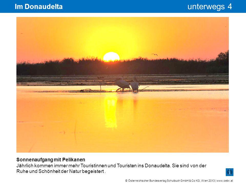 © Österreichischer Bundesverlag Schulbuch GmbH & Co KG, Wien 2013 | www.oebv.at unterwegs 4 Im Donaudelta Sonnenaufgang mit Pelikanen Jährlich kommen
