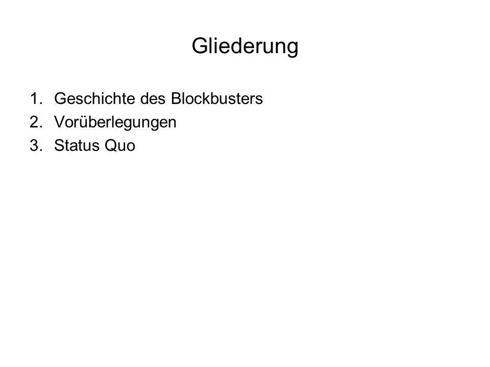 Gliederung 1.Geschichte des Blockbusters 2.Vorüberlegungen 3.Status Quo