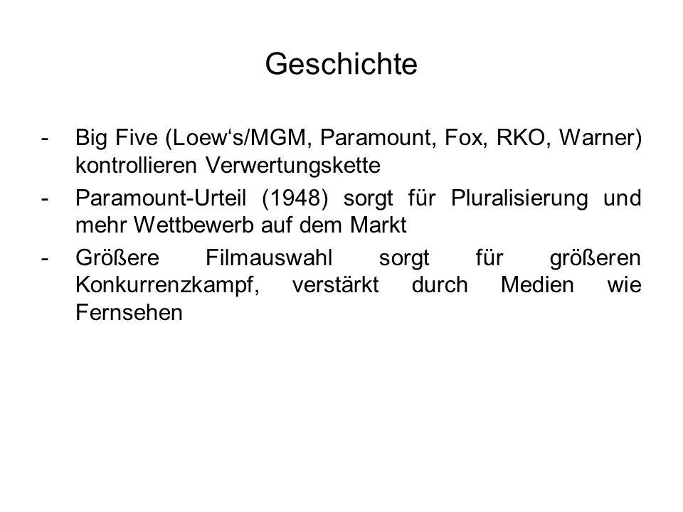 Geschichte -Big Five (Loews/MGM, Paramount, Fox, RKO, Warner) kontrollieren Verwertungskette -Paramount-Urteil (1948) sorgt für Pluralisierung und meh