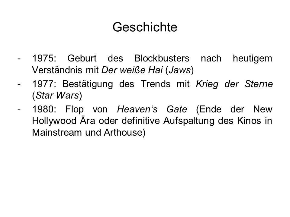 Geschichte -1975: Geburt des Blockbusters nach heutigem Verständnis mit Der weiße Hai (Jaws) -1977: Bestätigung des Trends mit Krieg der Sterne (Star