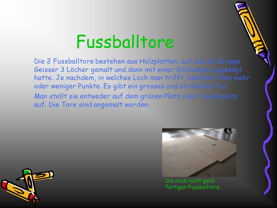 Fussballtore Die 2 Fussballtore bestehen aus Holzplatten, auf die die Gruppe Geisser 3 Löcher gemalt und dann mit einer Stichsäge ausgesägt hatte.