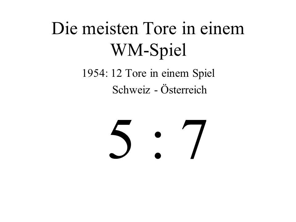 Höchste Siege bei einer WM: 1954 Ungarn – Südkorea 9 : 0 1974 Jugoslawien – Zaire 9 : 0 1982 Ungarn – Elsalvador 10 : 1 1938 Schweden – Kuba 8 : 0 und...