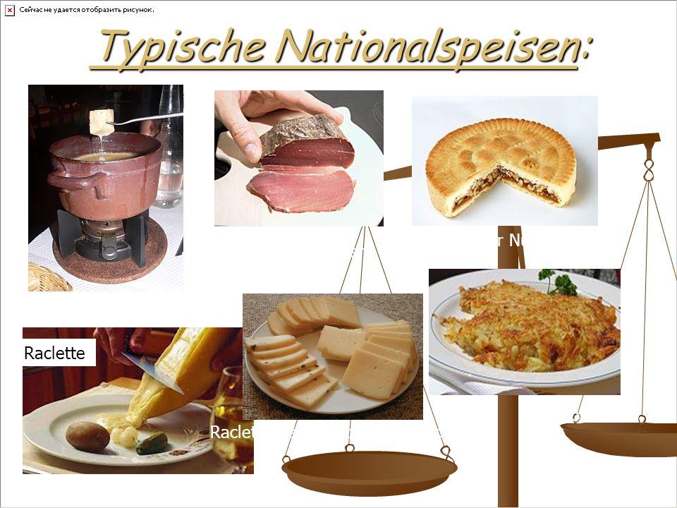 Typische Nationalspeisen: Rösti Fondue Trockenfleisch aus dem Wallis Raclette Raclette-Käse in Scheiben geschnitten Bündner Nusstorte Rösti