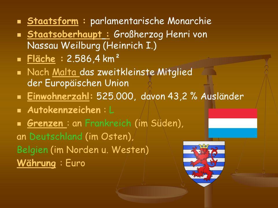 Staatsform : parlamentarische Monarchie Staatsform Staatsoberhaupt : Großherzog Henri von Nassau Weilburg (Heinrich I.) Staatsoberhaupt Fläche : 2.586