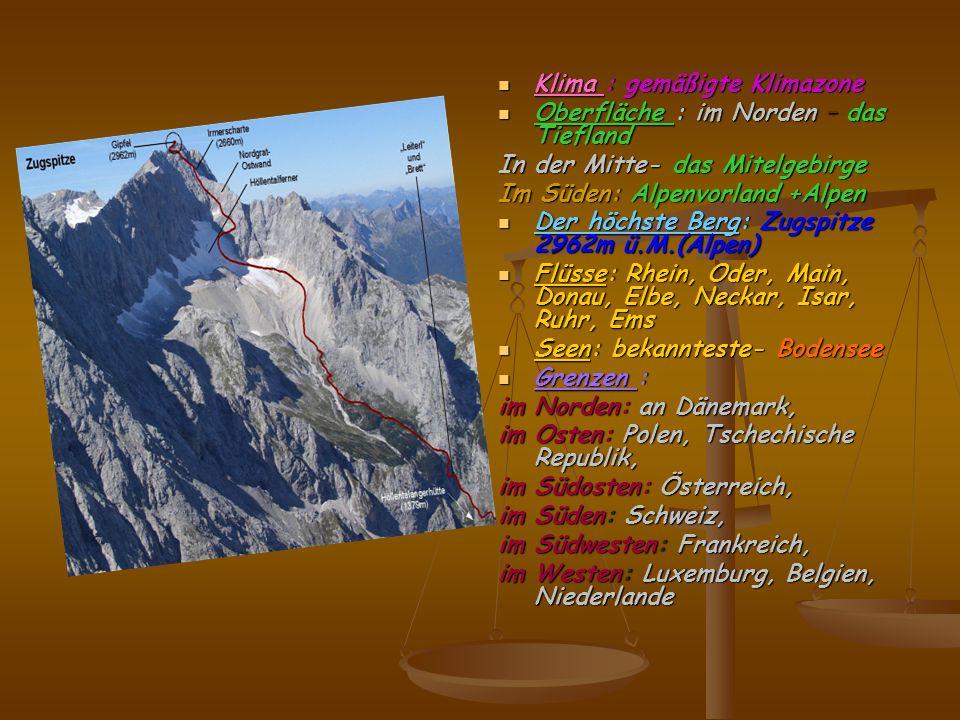 Klima : gemäßigte Klimazone Oberfläche : im Norden – das Tiefland In der Mitte- das Mitelgebirge Im Süden: Alpenvorland +Alpen Der höchste Berg: Zugsp