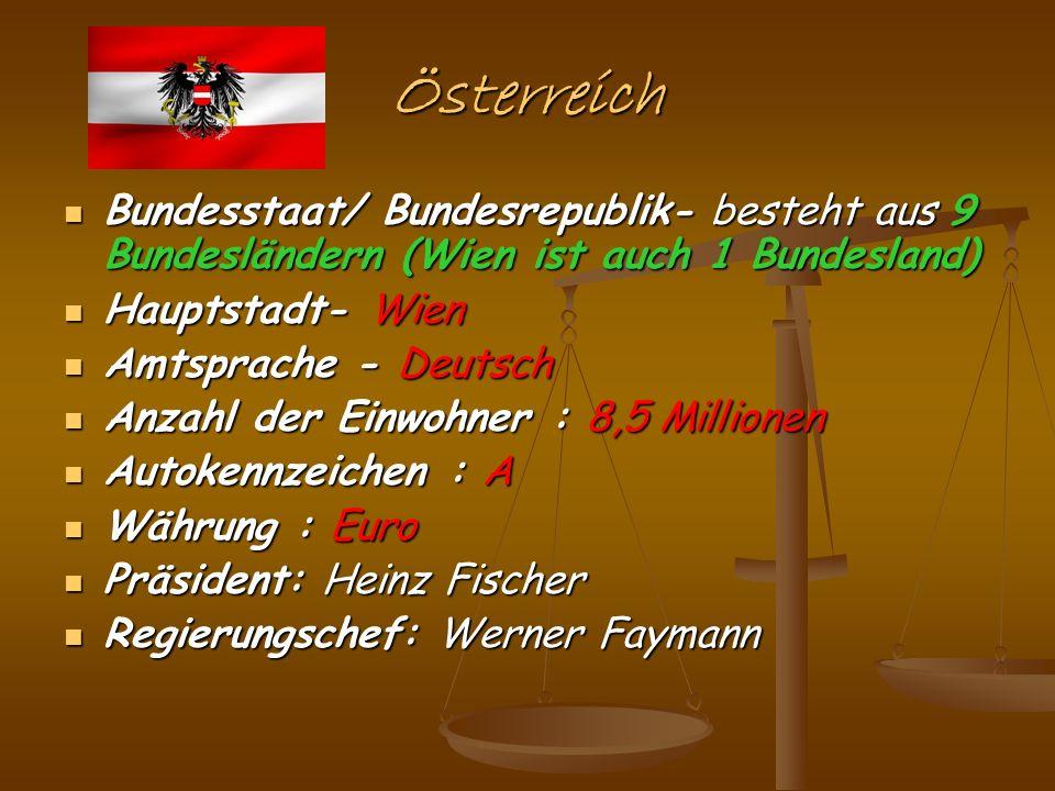 Österreich Bundesstaat/ Bundesrepublik- besteht aus 9 Bundesländern (Wien ist auch 1 Bundesland) Bundesstaat/ Bundesrepublik- besteht aus 9 Bundesländ