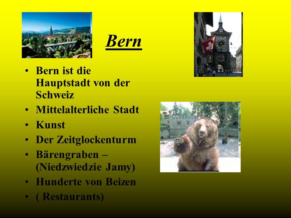 Bern Bern ist die Hauptstadt von der Schweiz Mittelalterliche Stadt Kunst Der Zeitglockenturm Bärengraben – (Niedzwiedzie Jamy) Hunderte von Beizen (