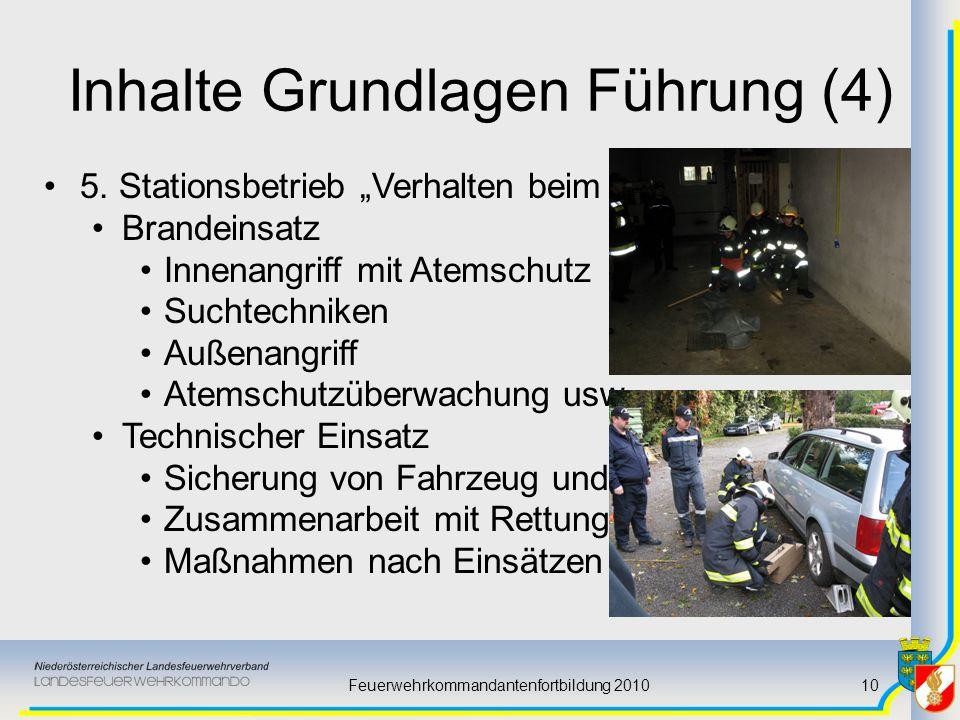 Feuerwehrkommandantenfortbildung 201010 Inhalte Grundlagen Führung (4) 5. Stationsbetrieb Verhalten beim Einsatz Brandeinsatz Innenangriff mit Atemsch