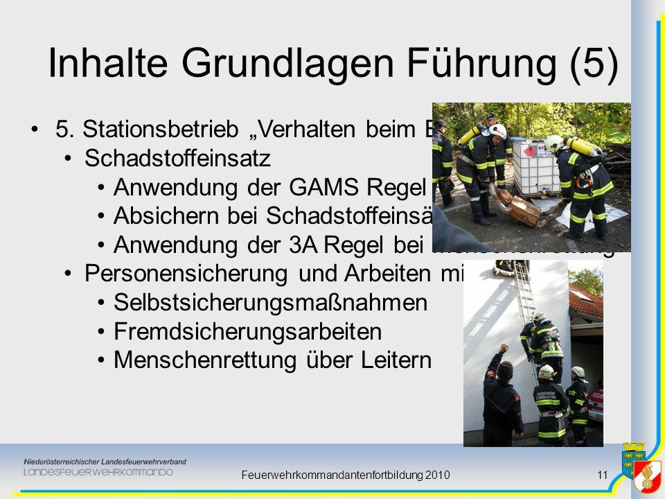 Feuerwehrkommandantenfortbildung 201011 Inhalte Grundlagen Führung (5) 5. Stationsbetrieb Verhalten beim Einsatz Schadstoffeinsatz Anwendung der GAMS
