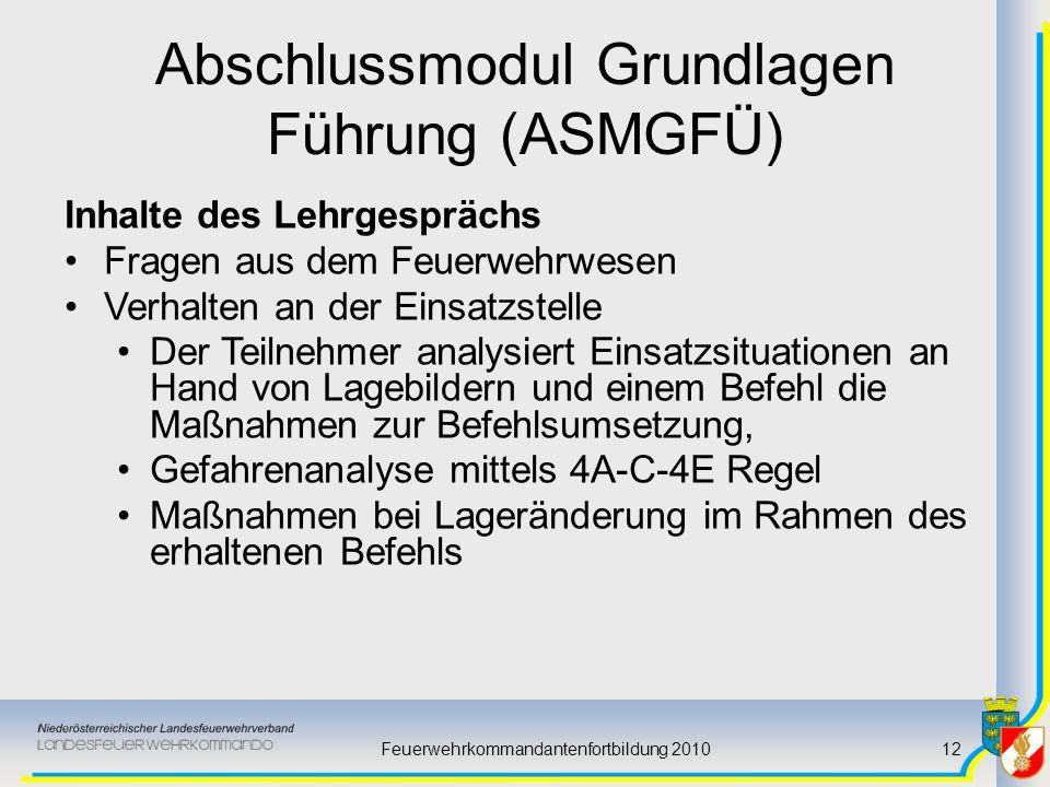 Feuerwehrkommandantenfortbildung 201012 Abschlussmodul Grundlagen Führung (ASMGFÜ) Inhalte des Lehrgesprächs Fragen aus dem Feuerwehrwesen Verhalten a