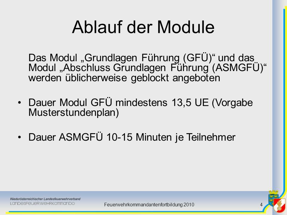 Feuerwehrkommandantenfortbildung 20104 Ablauf der Module Das Modul Grundlagen Führung (GFÜ) und das Modul Abschluss Grundlagen Führung (ASMGFÜ) werden