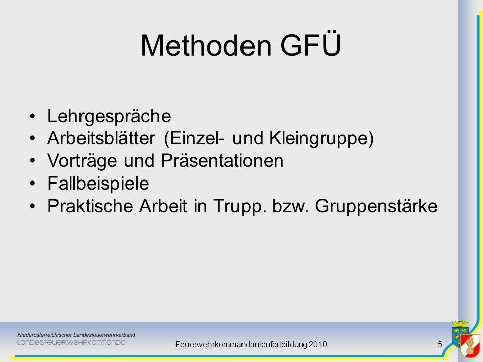 Feuerwehrkommandantenfortbildung 20105 Methoden GFÜ Lehrgespräche Arbeitsblätter (Einzel- und Kleingruppe) Vorträge und Präsentationen Fallbeispiele P