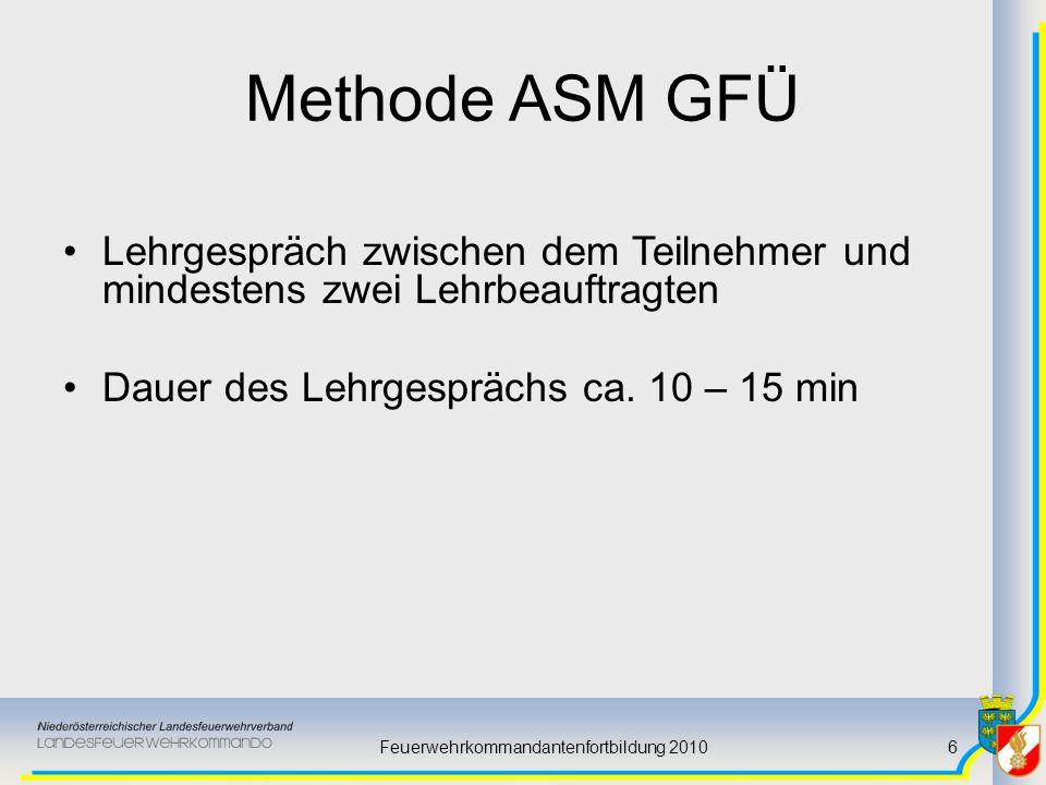Feuerwehrkommandantenfortbildung 20106 Methode ASM GFÜ Lehrgespräch zwischen dem Teilnehmer und mindestens zwei Lehrbeauftragten Dauer des Lehrgespräc