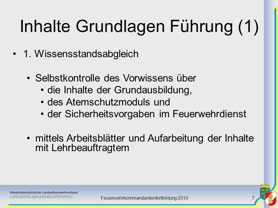 Feuerwehrkommandantenfortbildung 20107 Inhalte Grundlagen Führung (1) 1. Wissensstandsabgleich Selbstkontrolle des Vorwissens über die Inhalte der Gru