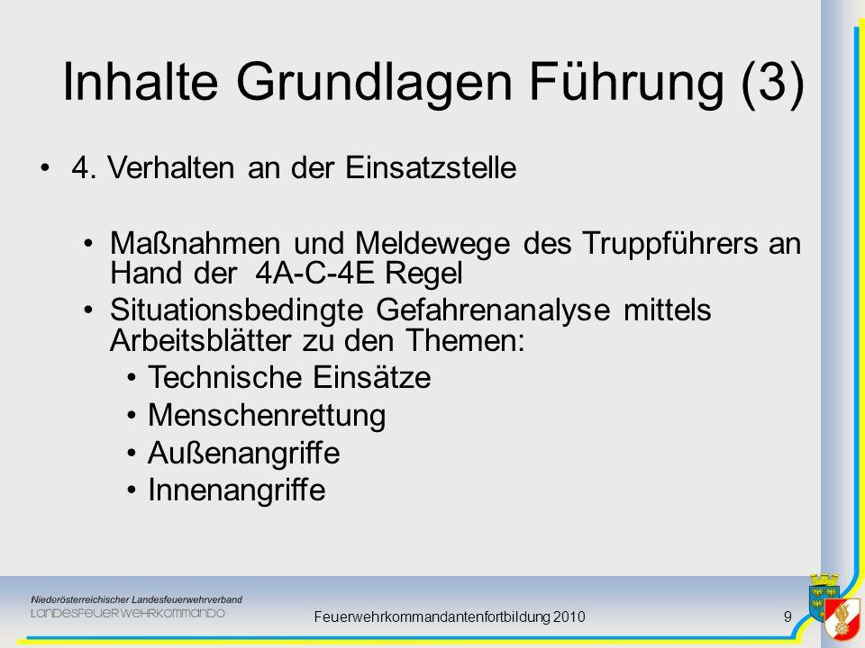 Feuerwehrkommandantenfortbildung 20109 Inhalte Grundlagen Führung (3) 4. Verhalten an der Einsatzstelle Maßnahmen und Meldewege des Truppführers an Ha