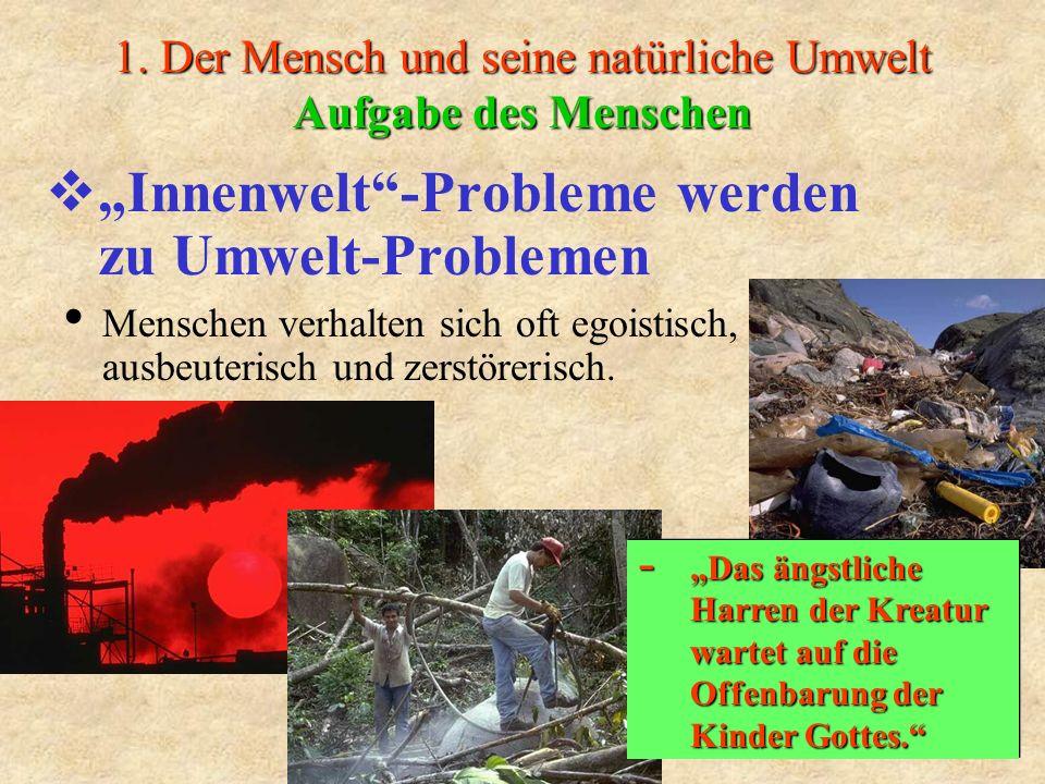1. Der Mensch und seine natürliche Umwelt Aufgabe des Menschen Innenwelt-Probleme werden zu Umwelt-Problemen Menschen verhalten sich oft egoistisch, a