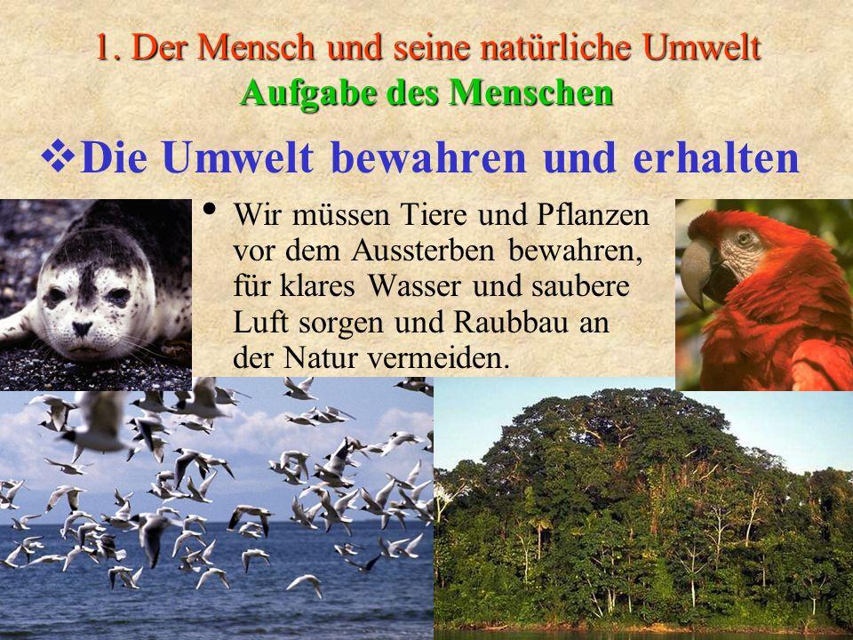 1. Der Mensch und seine natürliche Umwelt Aufgabe des Menschen Die Umwelt bewahren und erhalten Wir müssen Tiere und Pflanzen vor dem Aussterben bewah
